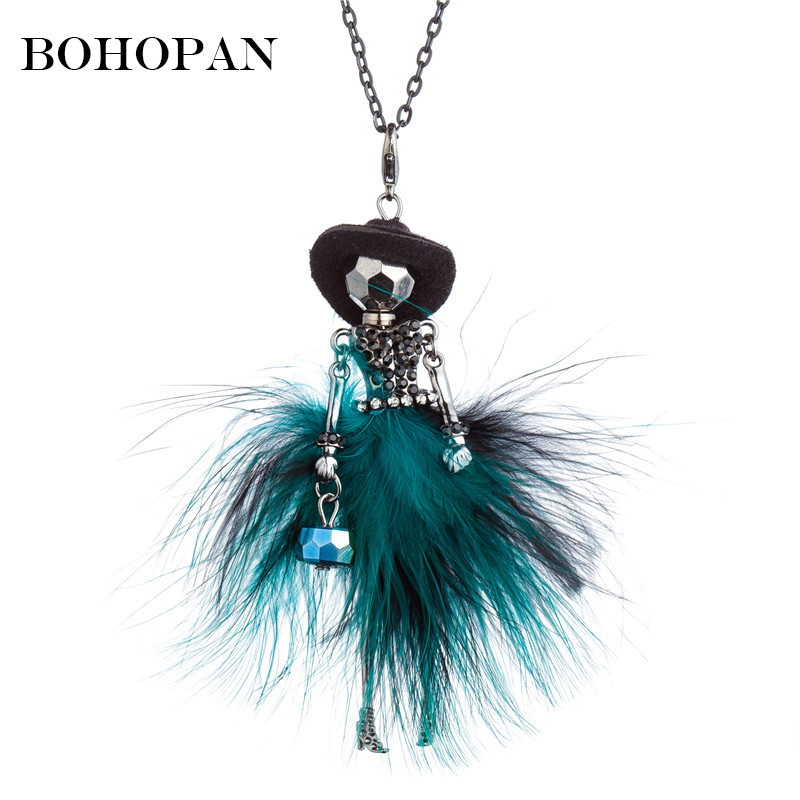 Elegant Long Chain Pendant Necklaces Black Hat Fur Dress  Rhinestone Doll Statement Necklace Women Cloth Accessories Jewelry