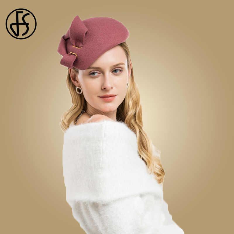 FS Wool Wedding Hats And Fascinators Women Elegant Pink Black Cocktail Pillbox Ladies Hat Felt Bowknot Kentucky Derby Fedoras