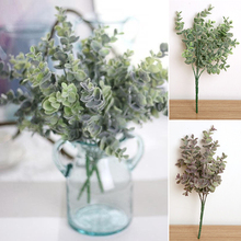 Artificial Silk Eucalyptus Bouquet Fake Flower Leaves for Bridal Wedding Party Home Decorations Green Branches