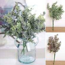 Ramo de eucalipto de seda artificial hojas de flores falsas para el banquete de boda nupcial decoraciones para el hogar ramas verdes