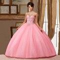 Vestido de Baile Vestidos De 15 Años Sparkly Rhinestone Aniversário Masquerade Vestidos Quinceanera Doce 16 Dresses Blush Rosa Claro 2016