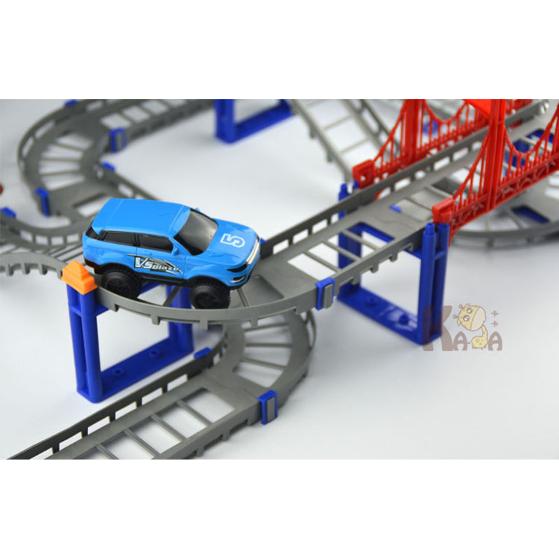 Electric Racing Rail Car Kids Train Track Model Toy Baby Railway Track Racing Road Transportation Building Slot Set Creative in RC Cars from Toys Hobbies