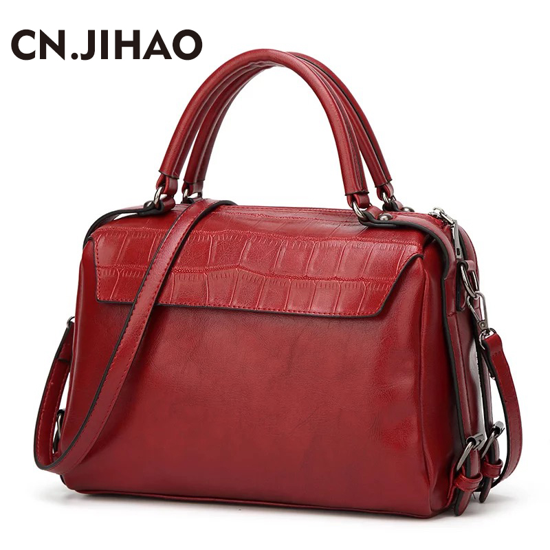JI HAO Winter handbags women bag designer 2018 fashion PU leather shoulder bags female Simple messenger bag girls casual tote