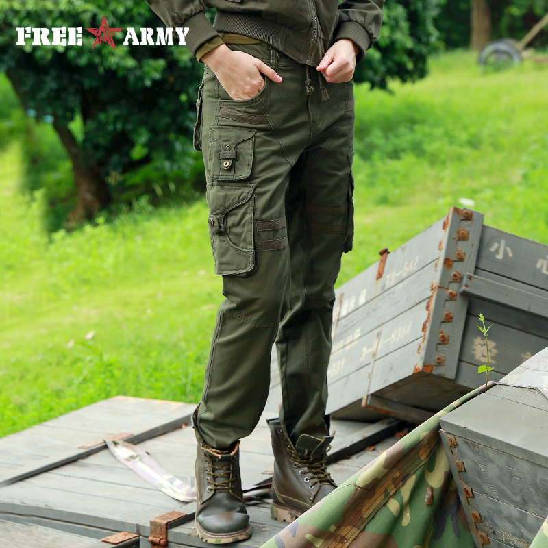 ac21de80b1ee1b Donna di alta Qualità Tattico Pantaloni di Cotone Verde Militare Pantaloni  Cargo Tasche Esterne Casual Capri Coulisse Pantaloni Cintura Femminile in  Donna ...