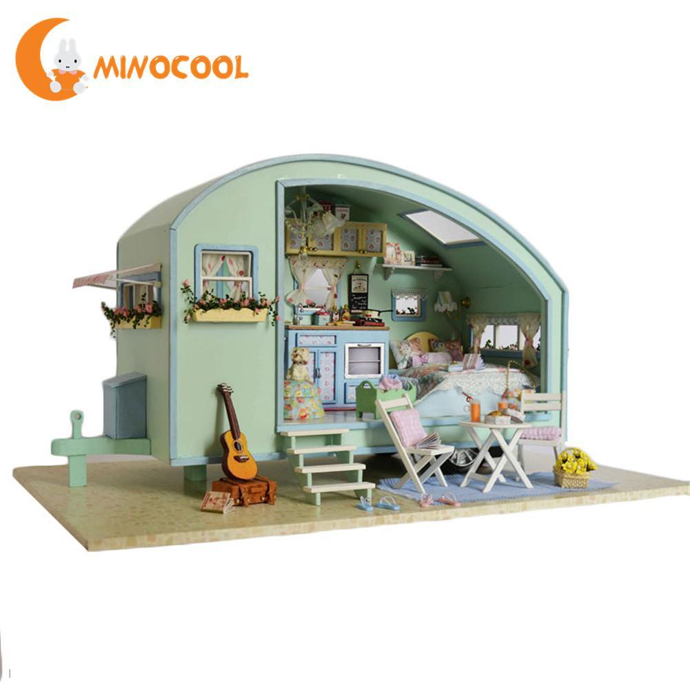 Bricolage Miniature en bois maison de poupée Kits de meubles jouets à la main artisanat Miniature modèle Kit maison de poupée jouets cadeau pour accessoires de poupée