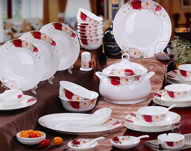 58pcs set dinnerware set bone china tableware set rose flower 5A red flower bone china family