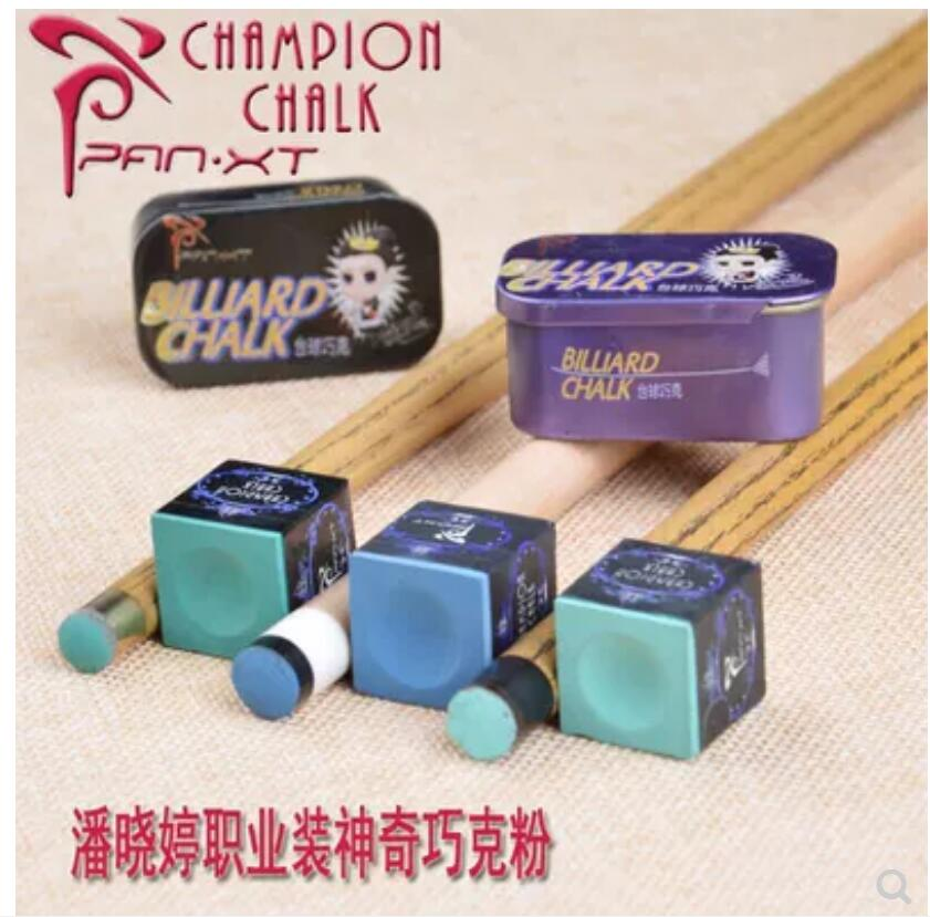 PXT Pan XT Tailor-made Chalk Powder Pool Snooker Metal Box Professional Accessories 2-Pieces Green Blue Chalk With Good Box