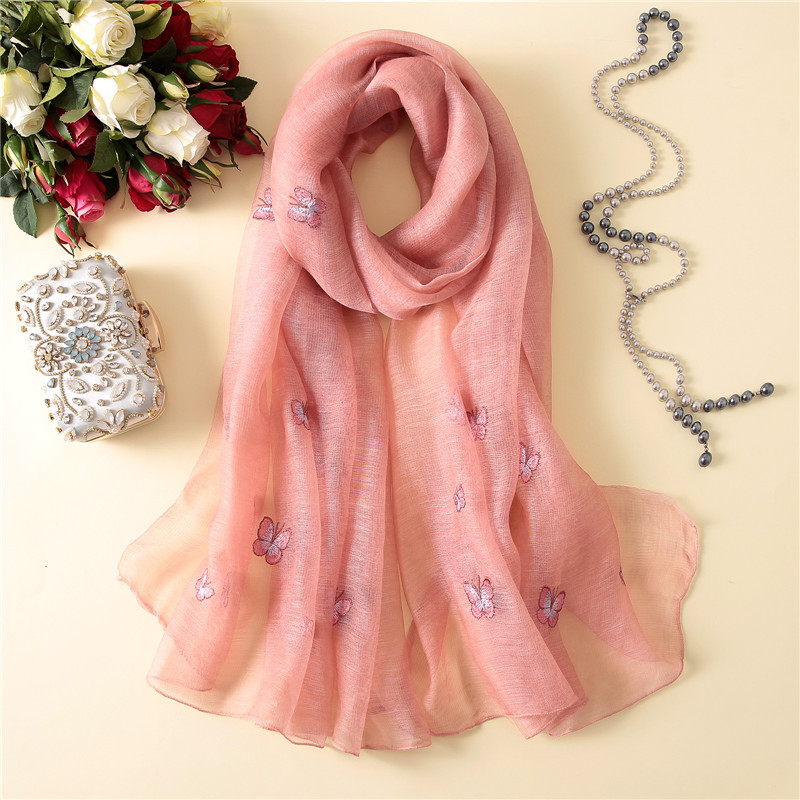 Peacesky brand lady pashmina beach stoles hijab foulard women scarf spring summer Embroidery silk scarves shawls and wraps