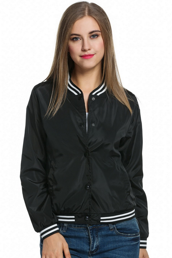 Vintage Bomber Jacket Womens Black