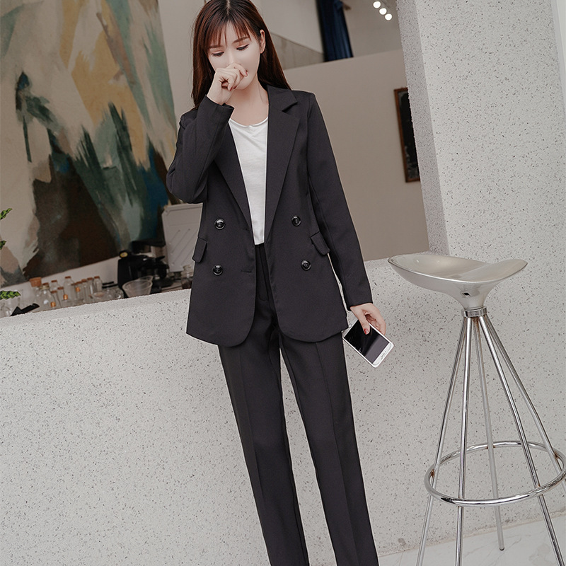 2019 Spring Work Pant Suits OL 2 Piece Sets Double Breasted Striped Blazer Jacket & Zipper Trousers Suit For Women Set Feminino