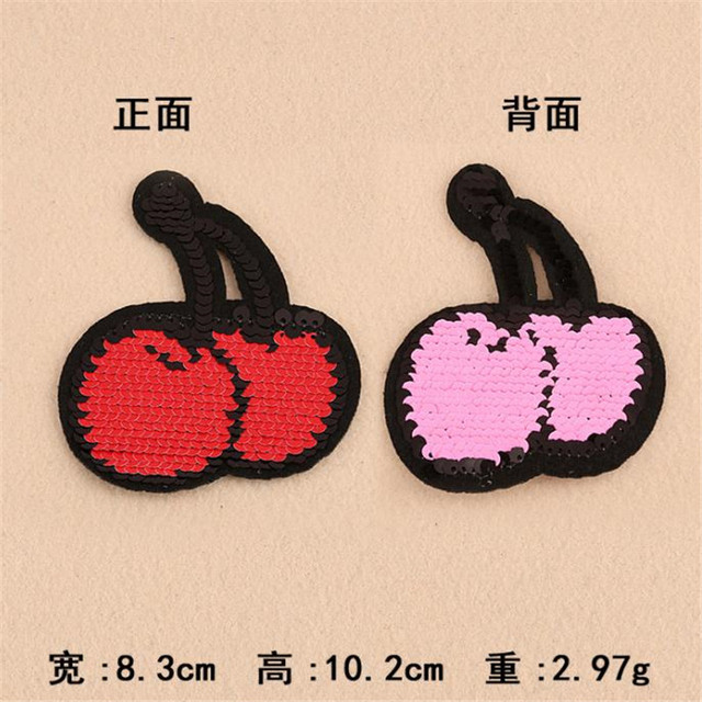 Clothing Women Fruit Patch Reversible change color cherry up and down flip red pink sequins patches for clothing sticker badge