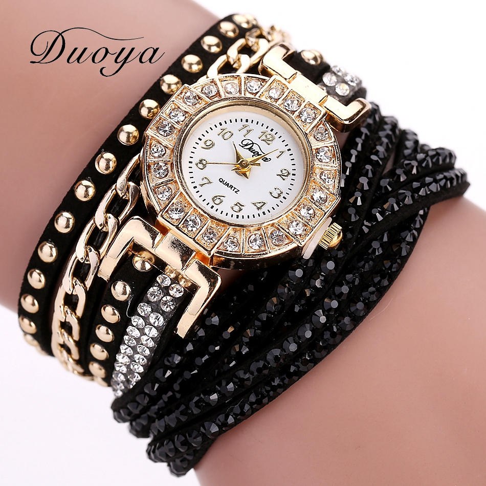 Duoya Watch Women Brand Luxury Gold Fashion Crystal Rhinestone Bracelet Women Dress Watches Ladies Quartz Wristwatches luxury brand gold watches women quartz dress watches fashion ladies stainless steel rhinestone crystal analog wristwatches ac026