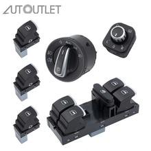 Autooutlet хром боковое зеркало Фары Окно переключатель кнопка 6 шт. 5ND959857 для VW Passat B6 CC Golf MK6 Jetta