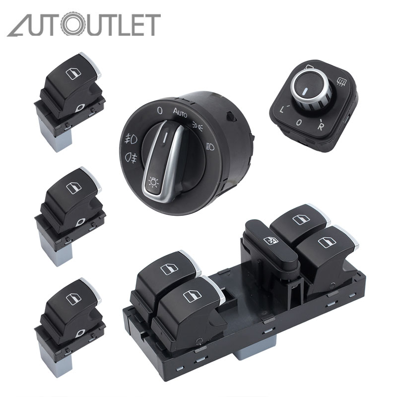 AUTOUTLET New Chrome Side Mirror Headlamp Headlight Window Switch Button 6 PCS 5ND959857 For VW Passat B6 CC Golf MK6 Jetta