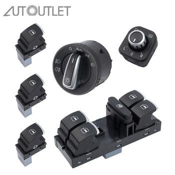 цена на AUTOUTLET new Chrome Side Mirror Headlamp Headlight Window Switch Button 6 PCS 5ND959857 For VW Passat B6 CC Golf MK6 Jetta