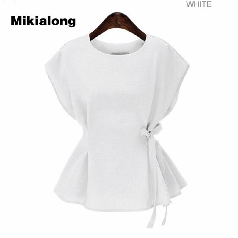 Oln 2017 verão sem mangas blusa feminina moda rendas até peplum topo solto blusas mujer camisas femininas casuais