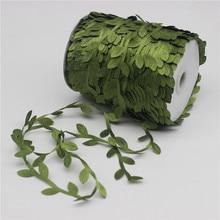 Купить с кэшбэком 10 Meter Silk Leaf-Shaped Handmake Artificial Green Leaves for Wedding Decoration DIY Wreath Gift Scrapbooking Craft Fake Flower