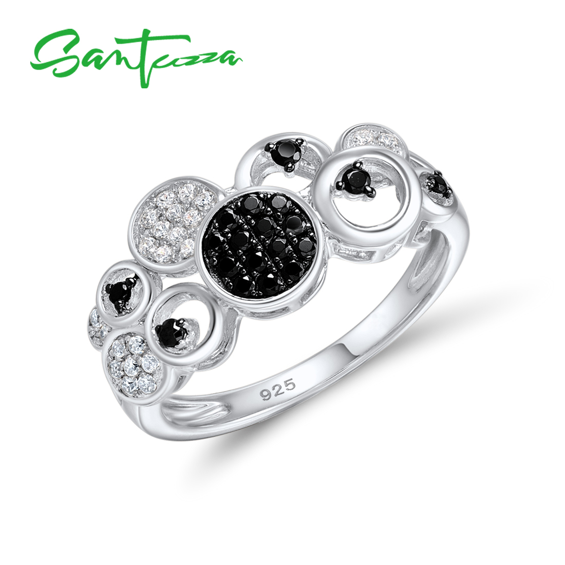 SANTUZZA Silver Rings For Women Authentic 925 Sterling Silver Round Black Spinel White CZ Concise Trendy Party Ring Fine Jewelry