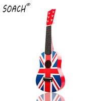 UK Flag Professional 21 Acoustic Ukulele Music 6 Steel String Kid Toy Guitar