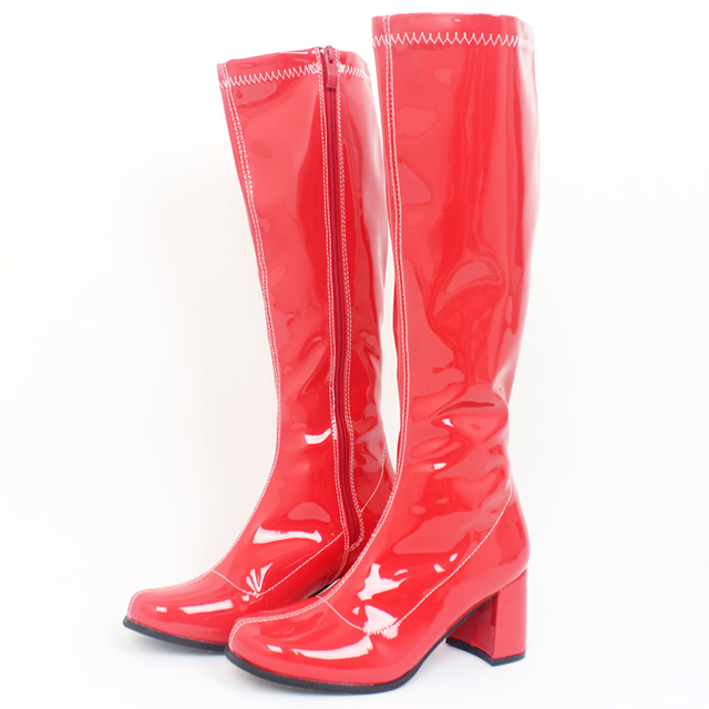 jialuowei Woman Rubber Boots Square Heel Knee-High Classic Square Toe Boots PU Leather Zip Boots Ladies Party Dress Dance Shoes