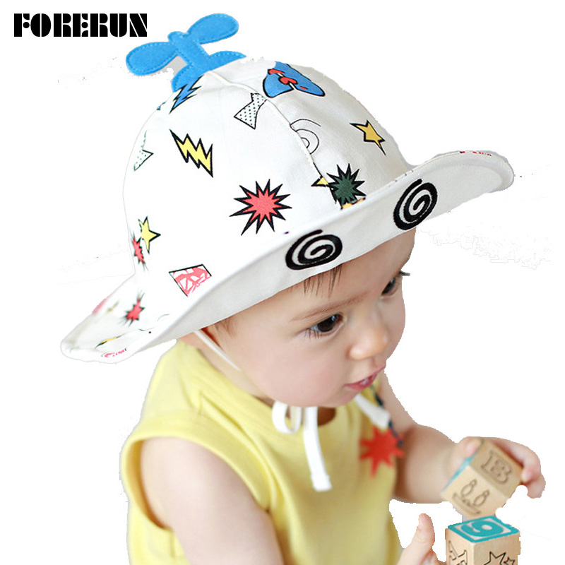 2018 New Baby Hat Helicopter Print Kids Bucket Hat Soft White Baby Boy Sun  Hat Summer Spring Cotton Cute Palace Cap Girls Visors 453ebcc9c68