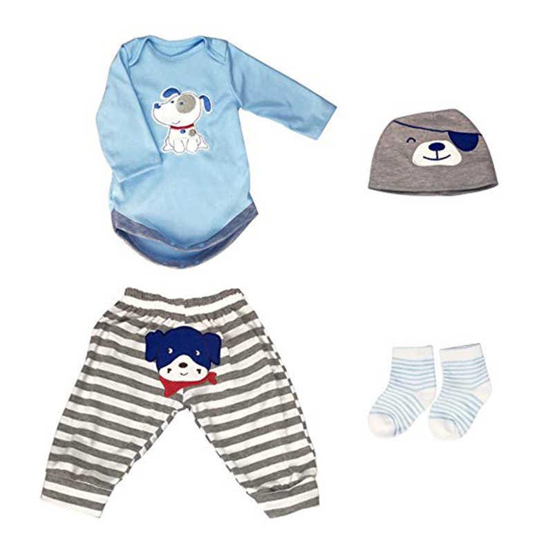 Nicery בעבודת יד תינוק בובת בגדי אביזרי עיצוב עבור 20-22 אינץ 50-55 cm Reborn תינוק בובת בגדים סטי כחול חולצה