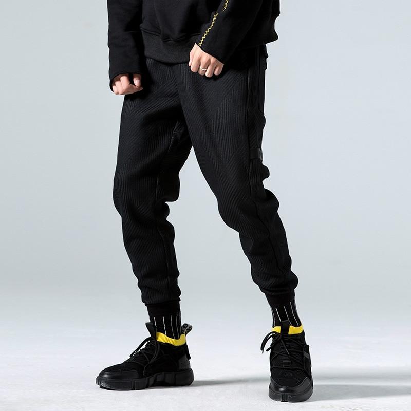 Autumn and winter plus velvet pants men's feet casual pants men's Korean version of the trend nine pants knitted loose harem pan