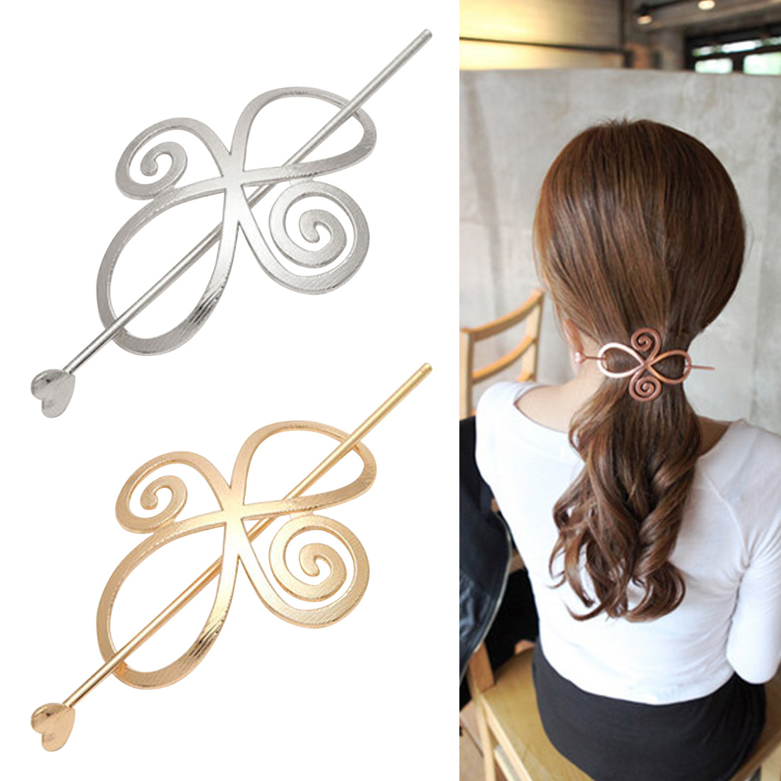 Hot 1PC 2019 Chinese hollow Stick Metal Tools Hairpin for Women Simple Elegant Ponytail Holder Gilrs Hair clip in Women 39 s Hair Accessories from Apparel Accessories