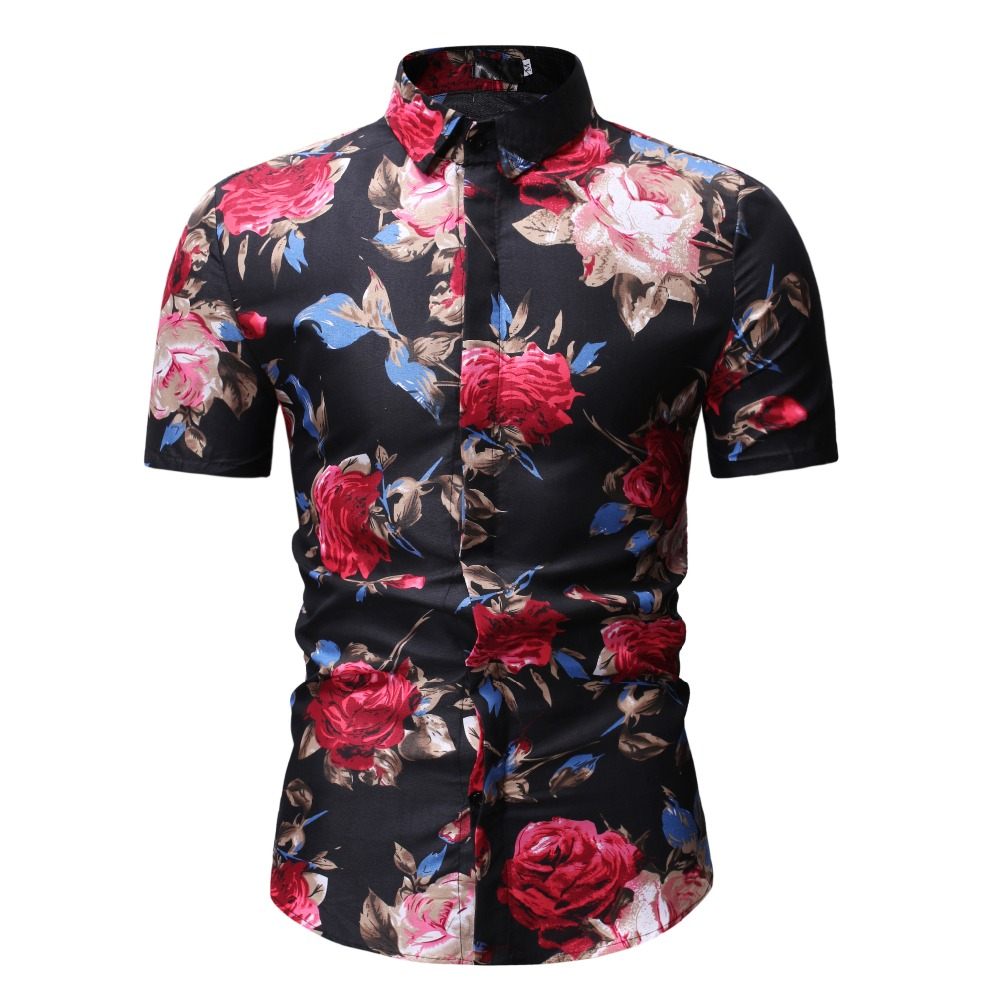 Mens Summer Beach Hawaiian Shirt 2018 Brand Short Sleeve Plus Size Floral Shirts Men Casual Holiday Vacation Clothing Camisas