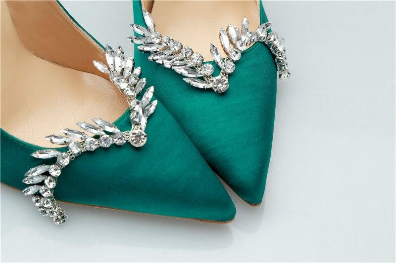 Vert Slip Chaussures Cristal Pompes En Femmes Bout Soirée Hauts Talons Pointu Véritable De Green Sur Mujer Zapatos Mince Cuir Soie Strass 6wdPZqxZ