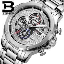 Switzerland watches men luxury brand clock BINGER Quartz men's watch full stainless steel Chronograph Diver glowwatch B6009