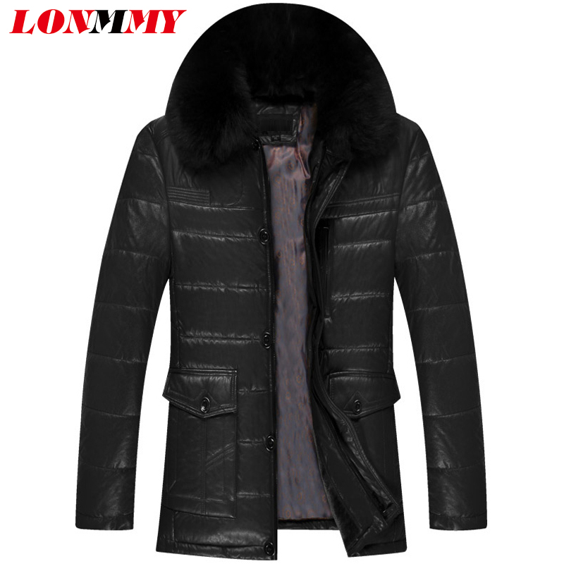 LONMMY 4XL 5XL Leather jackets mens coats fur collar Outerwear Casual parka men thicken velvet thickening warm Black 2017 Winter