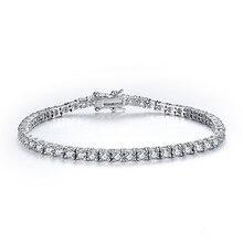 Cmain 925 الاسترليني والفضة والمجوهرات الكلاسيكية سوار للتنس الشق الإعداد زركون أساور للنساء هدية عيد الأم