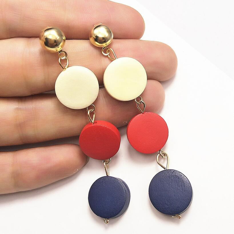 New Three Round Earrings Geometric Wooden Drop Earrings For Women Hanging Dangle Earrings Fashion Jewelry