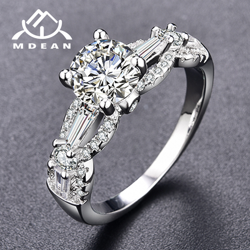 MDEAN White Gold Color Wedding Engagement Rings for Women AAA Zircon Jewelry accessories shining Bague Bijoux Size 6 7 8 9 H305