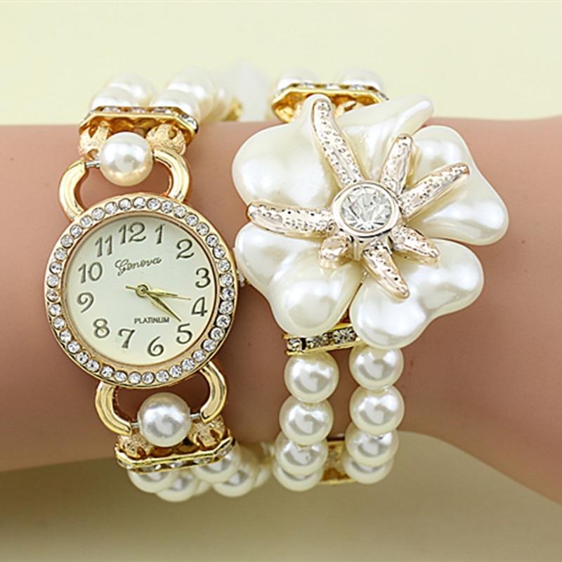 2017 women bracelet watch imitation pearl strap flower. Black Bedroom Furniture Sets. Home Design Ideas