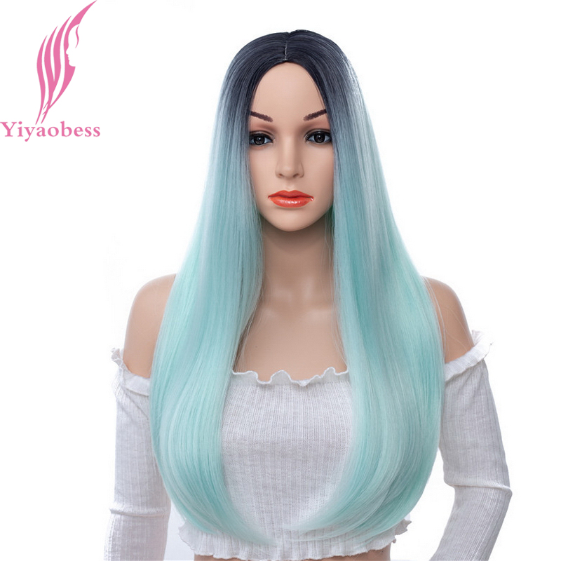 Yiyaobess 24inch Middle Part Long Straight Black Blue Ombre Wig Synthetic Hair Natural Black Grey Pink Brown Wigs For Women