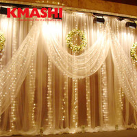 Kmashi Wedding Window LED Curtain Lights 6Mx3M 600LED Christmas Holiday Fairy String Lights Indoor Outdoor Decoration