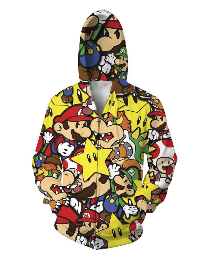 2017 NEW FASHION MEN WOMEN Cartoon Super Mario HOODIE 3D Hoodie Sweatshirts Pullovers Autumn Tracksuit Winter Loose Thin Hoody