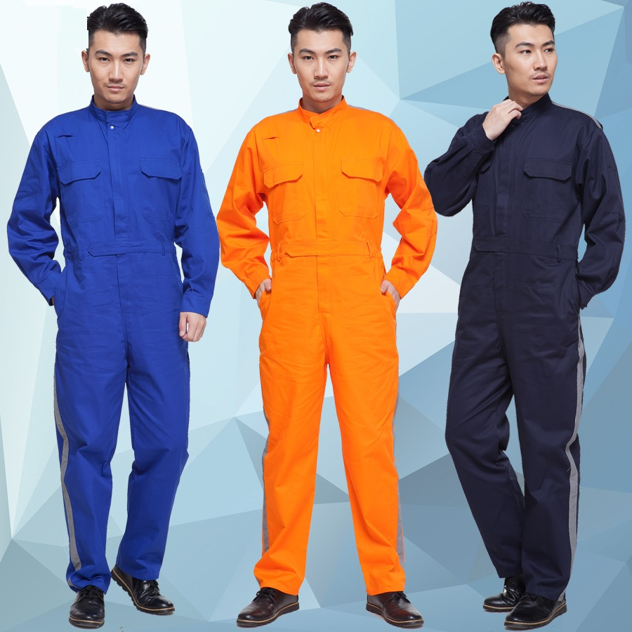 10 Set 100% Cotton One Piece Work Wear Reflective Of One Piece Clothing Male Worker Clothes Baby Coverall Tooling Work Clothes