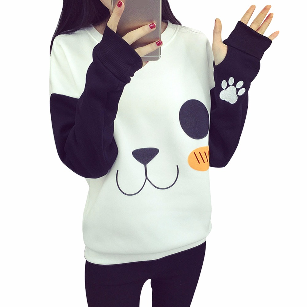 19f072620 ᗚWomen Cute Cartoon Panda Print Casual Jacket Sweatshirt Coat ...