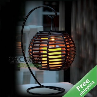 Rattan Table Solar Lantern Light 100 Ed Flickering Amber Led Candle Holder Free Shipping