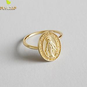 Image 2 - Flyleaf Gold Virgin Mary Round Brand Open Rings For Women High Quality 100% 925 Sterling Silver Lady Religion Jewelry