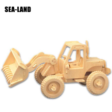 цена на Kids Toys 3D Puzzle Wooden Toys For Adult Children Bulldozer Model Classic Montessori Educational Diy Toy Hobby Gift For Family