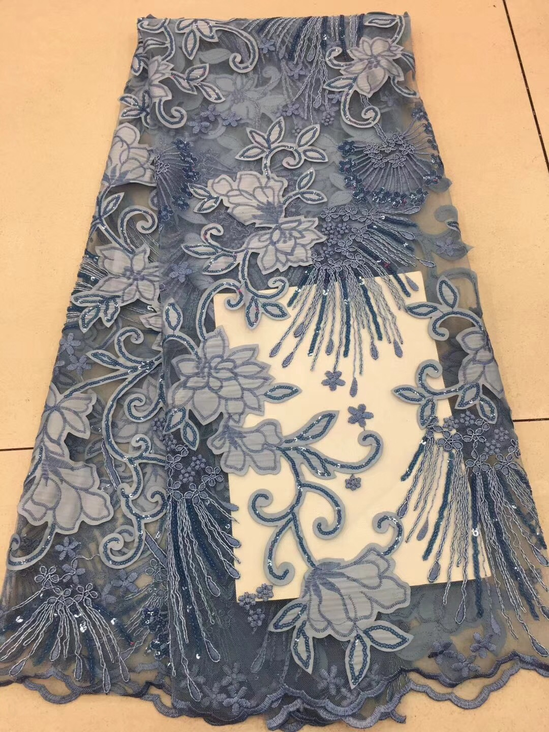 French Lace Fabric High Class African Laces Fabric Blue Black Color With Sequins Embroidery For Sewing Beauty Women Dress KD2070