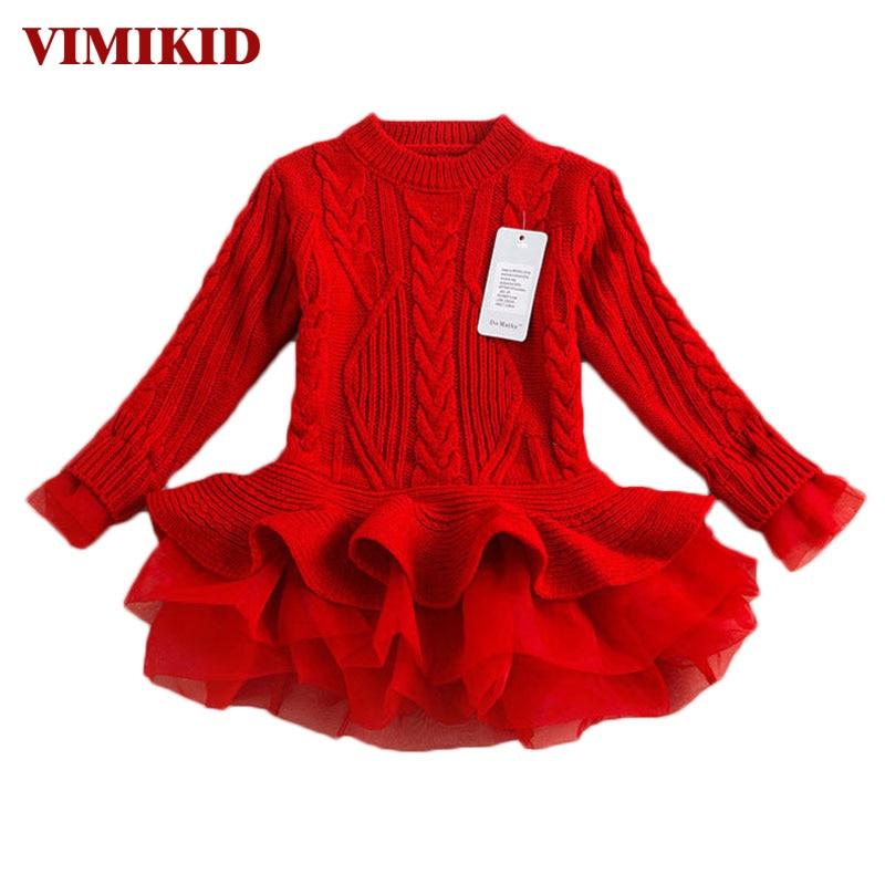 Dicke Warme Mädchen Kleid Weihnachten Hochzeit Party Kleider Strick Chiffon Winter Kinder Mädchen Kleidung Kinder Kleidung Mädchen Kleid k1