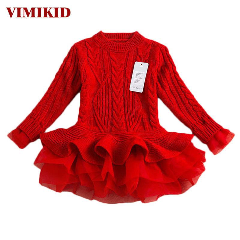 Thick Warm Girl Dress Christmas Wedding Party Dresses Knitted Chiffon Winter Kids Girls Clothes Children CLothing Girl Dress k1 korea lace knitted sweaters warm dresses winter baby wear clothes girls clothing sets children dress child clothing kids costume