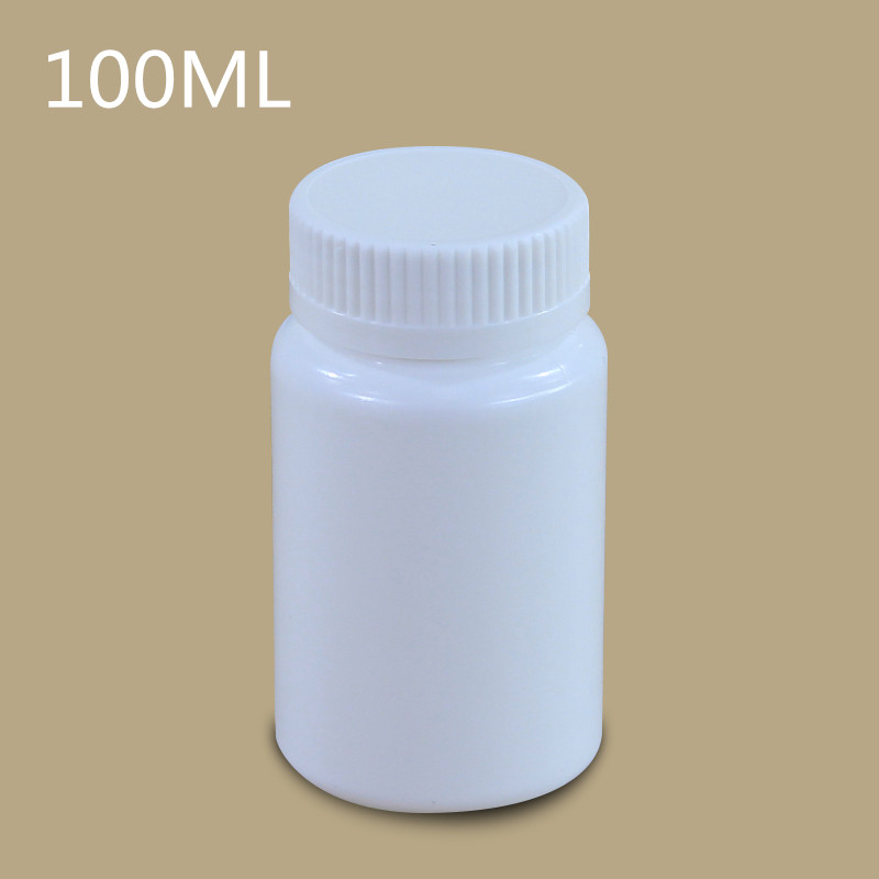 100PCS white plastic bottle with screw cap 100ML medicine pills capsules Solid storage container packaging bottles