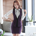 New Formal Slim Fashion Elegant Purple Professional Spring Fall Business Women Suits Vest + Skirt Female Blazers Outfits Set