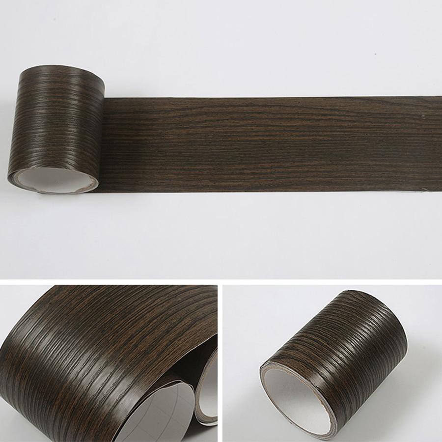 Купить с кэшбэком Wood Grain Self Adhesive Wallpaper Waterproof Tile Waist Line Skirting Wall Stickers Door Window Border Decorative Edge Sticker